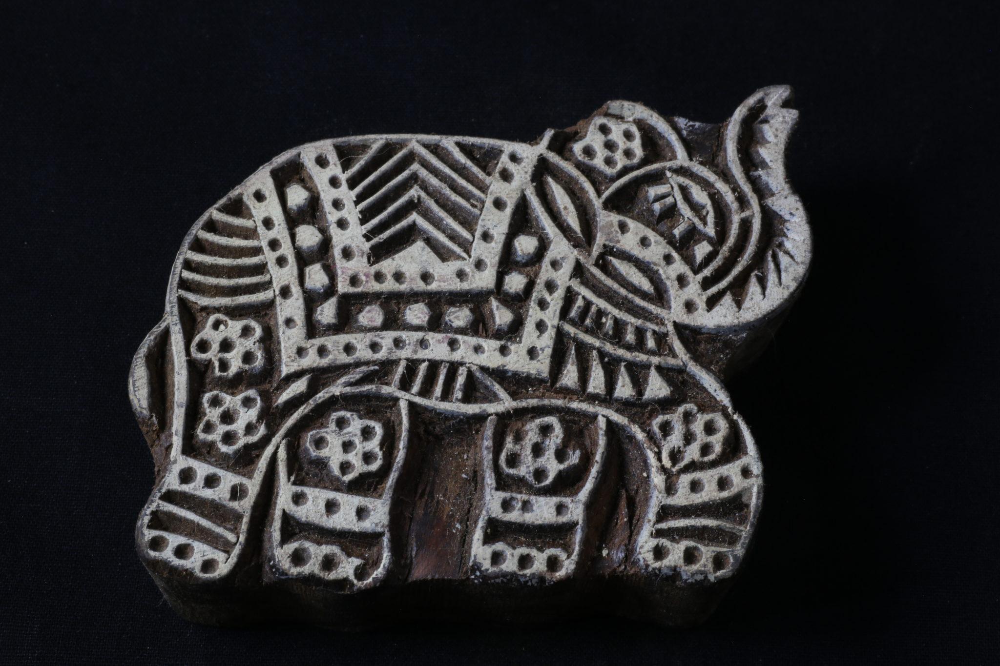 éléphant tampon tissu indien