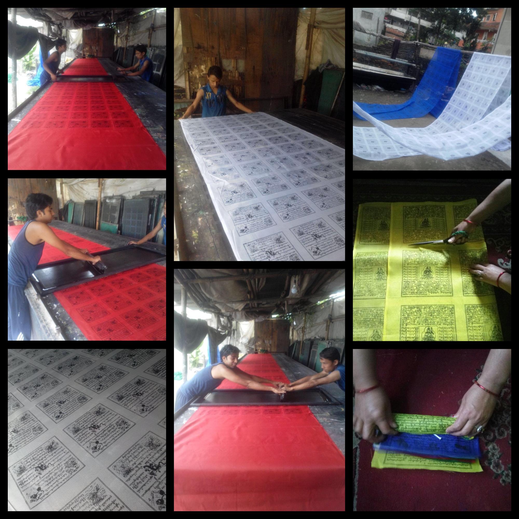 fabrication drapeaux prières tibétain
