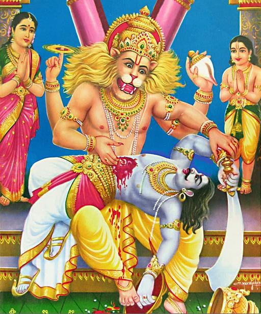 L'Homme-Lion Narasimha qui adopta cette forme mi humaine mi animale afin de pouvoir vaincre le démon Hiranyakshashipu qui ne pouvait être tué ni par un homme ni par un animal suit à un don d'invincibilité que Brahma lui avait accordé.
