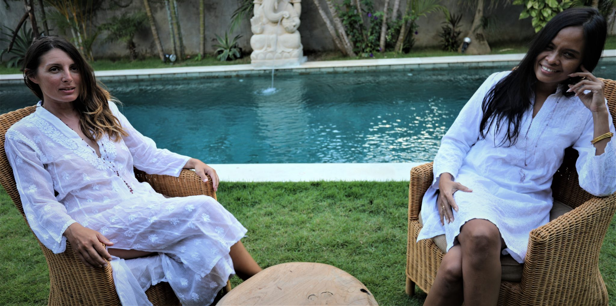 Chikan tunique kurta robe blanc Broderie indienne Lucknow Achat Mes Indes Galantes paris