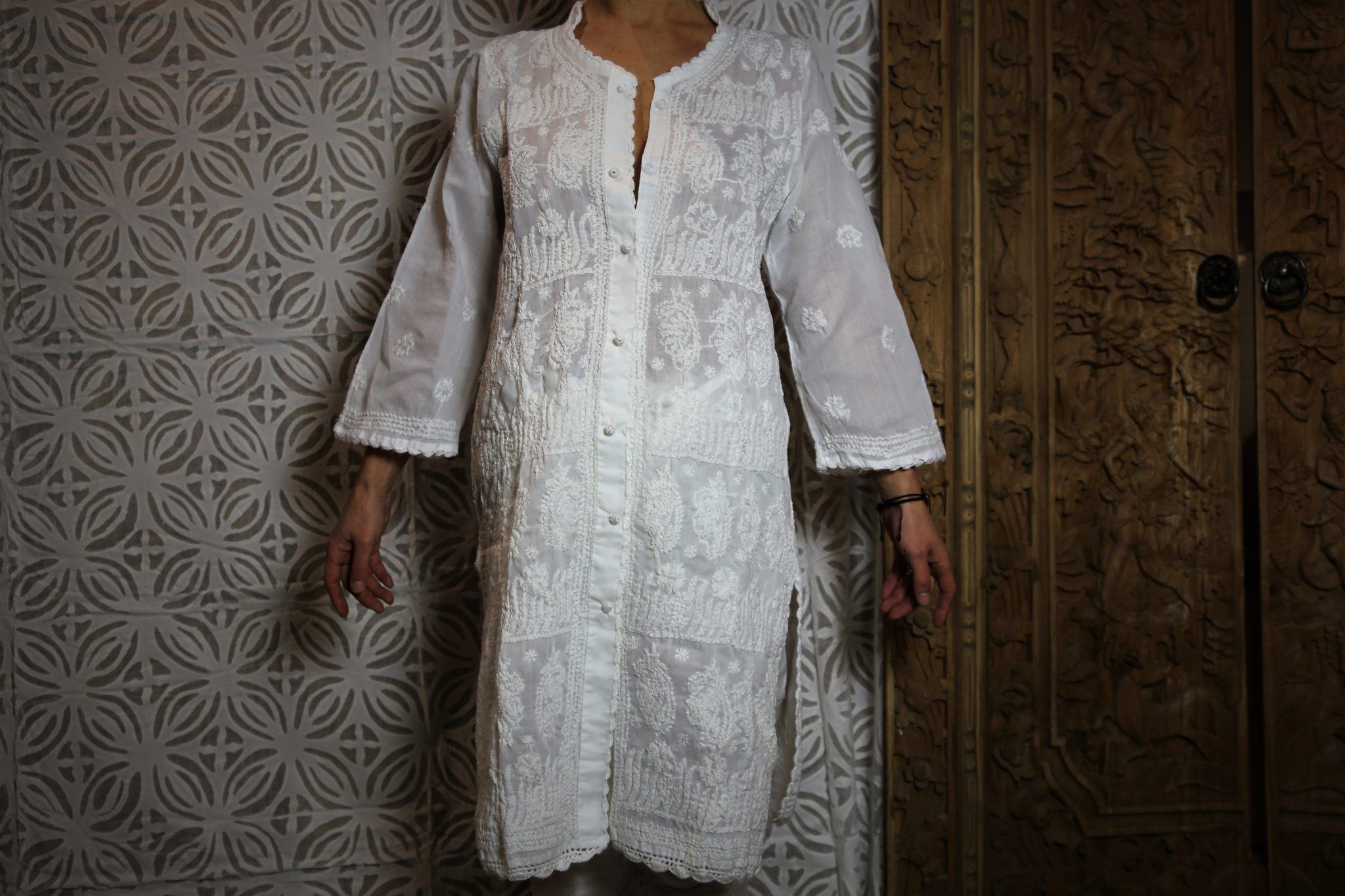Chikan tunique robe chemise Broderie indienne Lucknow