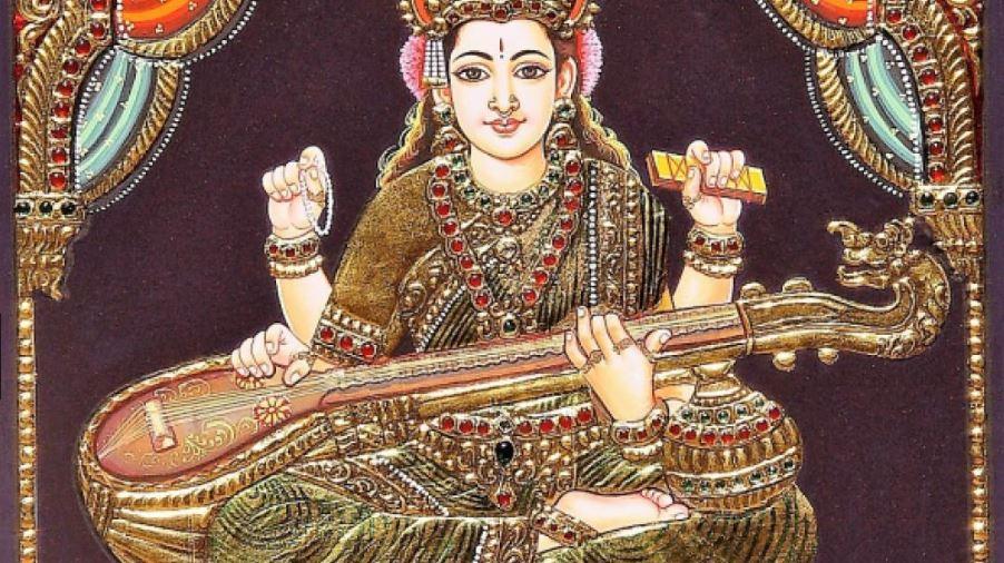 manuscrit hindouiste saraswati