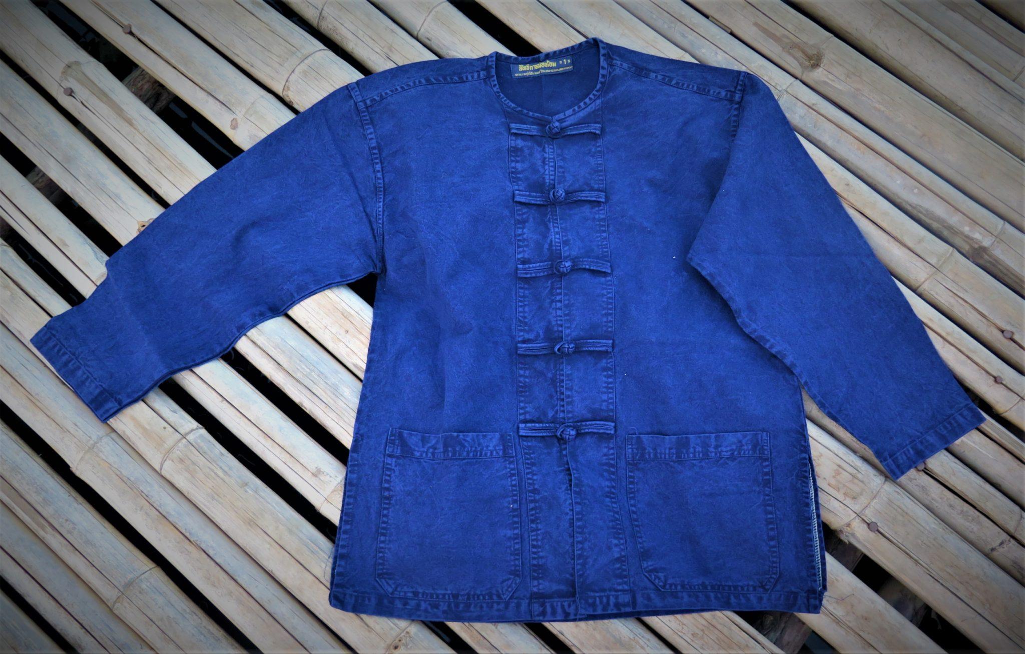 chemise indigo bleu travail thailande