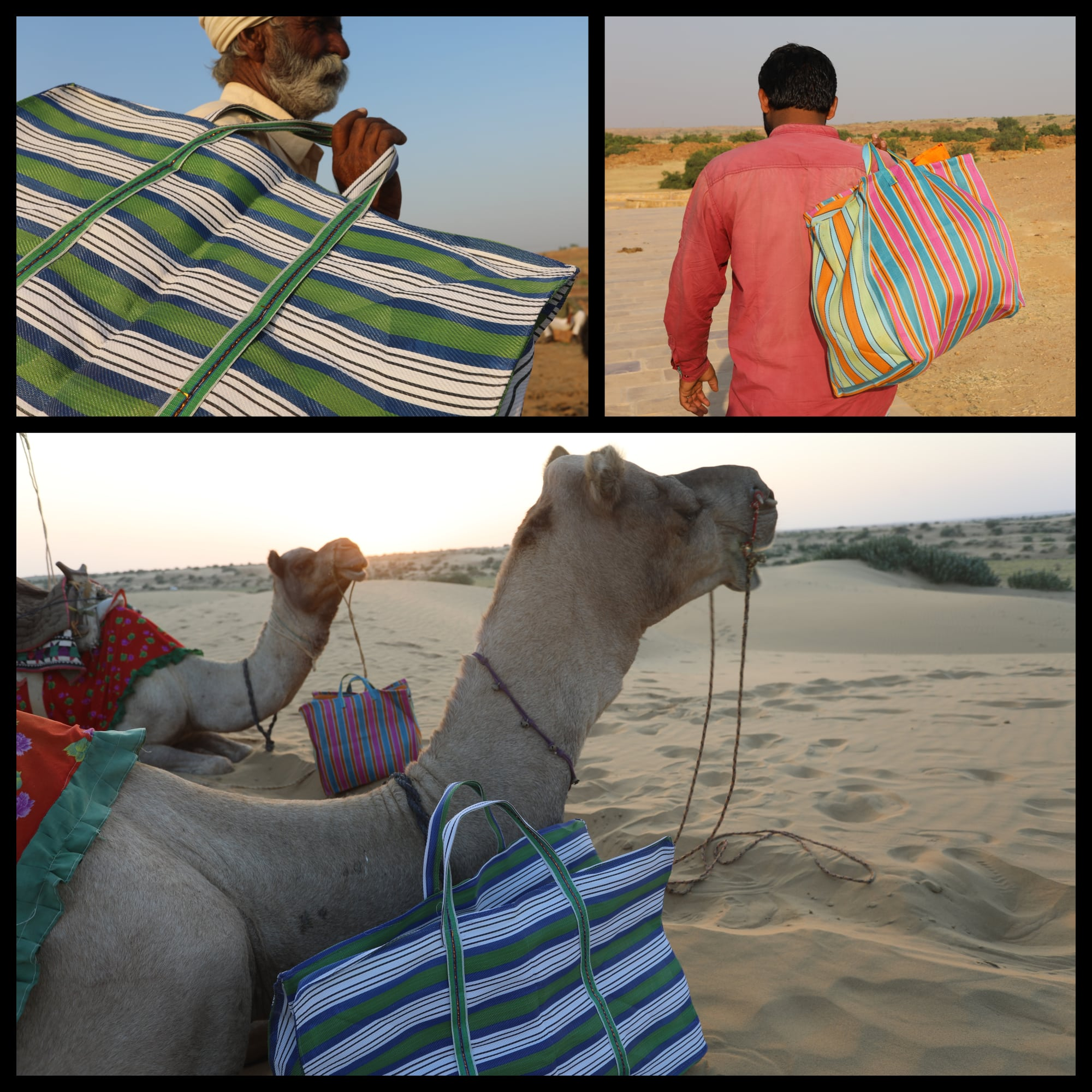 sac indien rayé en nylon