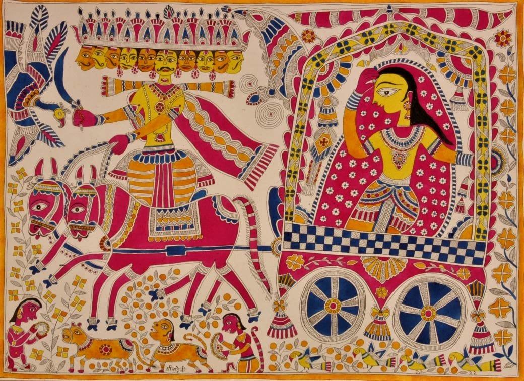Peinture de Madhubani Bihar Peinture indienne Peinture du Mithila Quai Branly