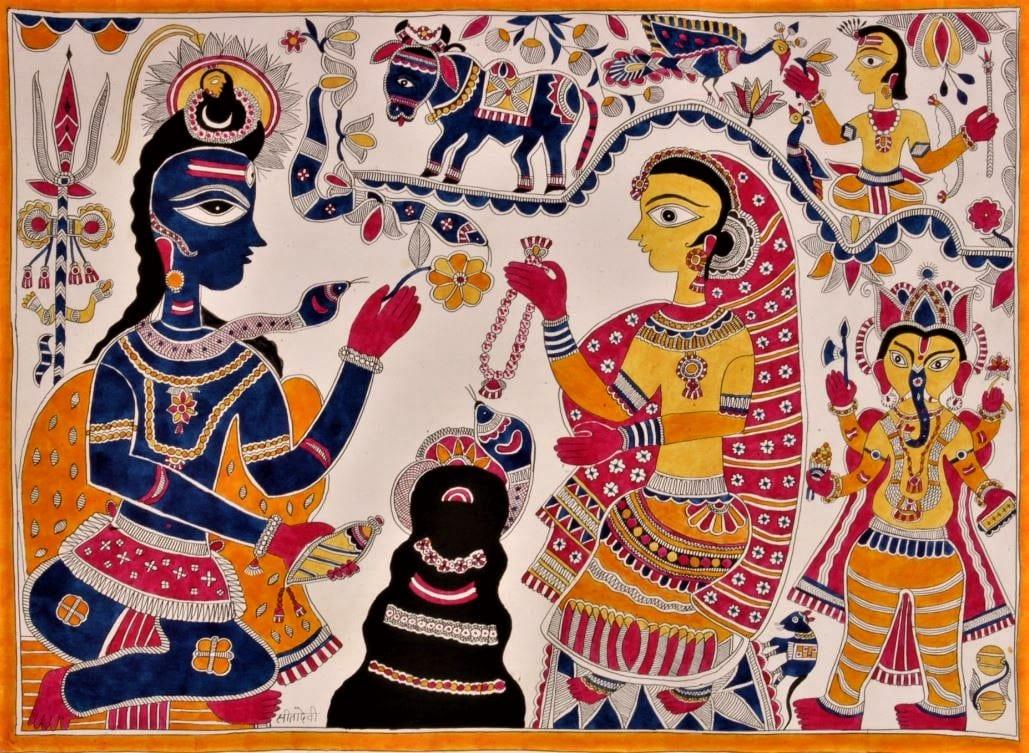 peinture-Madhubani  SHIVA PARVATI